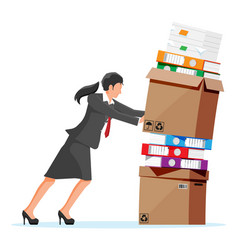 stressed businesswoman pushing pile documents vector image