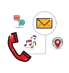 telephone with communication related icons image vector image