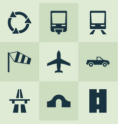 Transportation icons set with pickup train hump vector