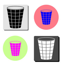 trash can flat icon vector image