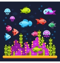 Underwater life with sea animals in flat style vector image