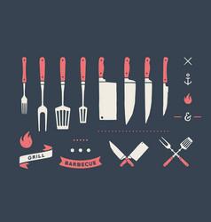 vintage meat set set meat cutting knives fork vector image