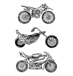 Vintage motorcycles collection of bicycles vector