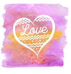 Watercolor stains pink with heart vector image