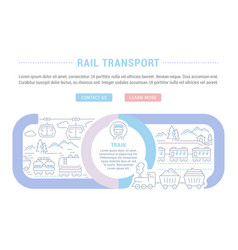 website banner and landing page rail transport vector image