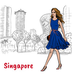 Woman on orchard road in singapore vector