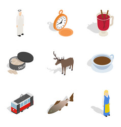 World conjuncture icons set isometric style vector