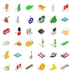 World icons set isometric style vector