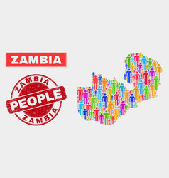 Zambia map population people and corroded vector