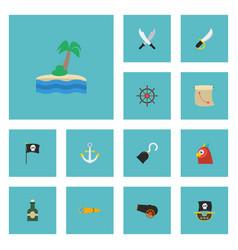 flat icons treasure map ship steering wheel vector image vector image