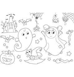 Halloween coloring set for little kids vector image