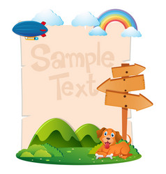 paper template with dog in park vector image vector image