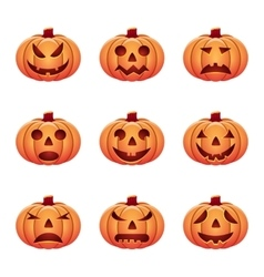 set of isolated pumpkins on white background vector image