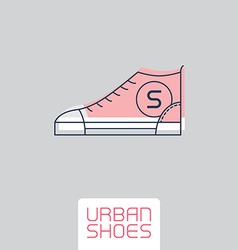 Stylized sneakers Outline urban shoes Sport icon vector image