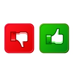 Thumb up and thumb down button vector image