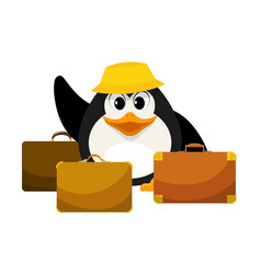 young penguin in a yellow panama with three vector image vector image