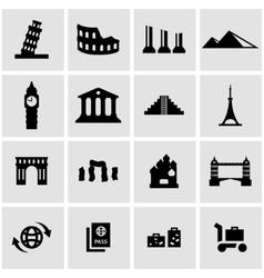 black landmarks icon set vector image vector image