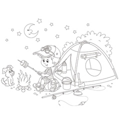 Boy scout roasting bread on campfire vector