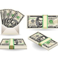 full set of five dollar banknotes vector image vector image