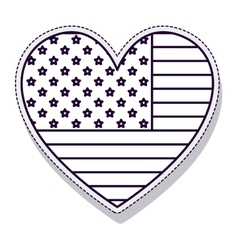 heart usa flag isolated icon vector image