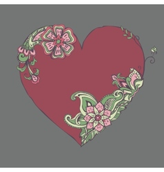 red heart with fancy floral ornament vector image vector image