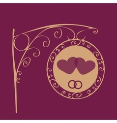 Retro wedding sign two hearts and rings vector image