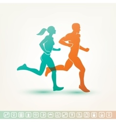 running man and woman silhouette fitness tracker vector image vector image