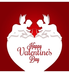 Valentines day couple on heart background vector
