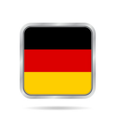 Flag of germany shiny metallic gray square button vector