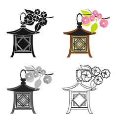 Japanese lantern icon in cartoon style isolated on vector