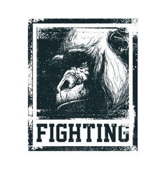 Monkey Face With Fighting Inscription vector image vector image