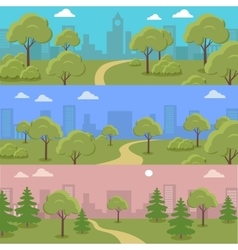 Set of City Park Concepts In Flat Design vector image vector image