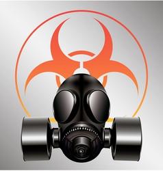 black gas mask with biohazard symbol vector image