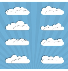 Collection of paper clouds vector image