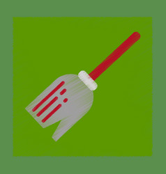 Flat shading style icon halloween witch broom vector