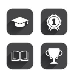 Graduation icons Education book symbol vector image vector image