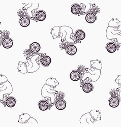 lovely seamless pattern with funny cartoon bear vector image