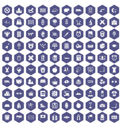 100 alarm clock icons hexagon purple vector