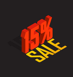 15 percent off sale red isometric object 3d vector image