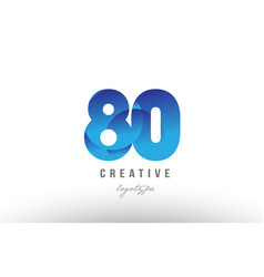 80 blue gradient number numeral digit logo icon vector