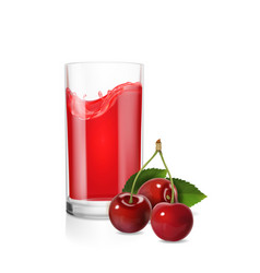 A glass of cherry juice realistic vector