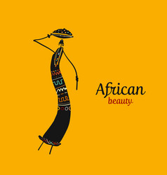 African woman with jug ornate sketch for your vector