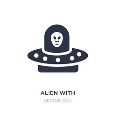 Alien with aqualung icon on white background vector