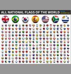 All national flags world 3d spherical vector
