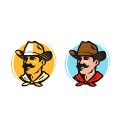 American cowboy sheriff logo or label farmer vector