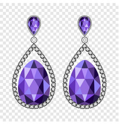 Amethyst earrings mockup realistic style vector