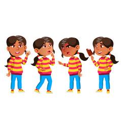 Arab muslim girl kindergarten kid poses set vector