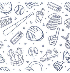baseball attributes used in seamless vector image