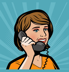 beautiful girl talking on phone retro comic pop vector image