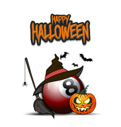 Billiard ball with witch hat and happy hallowen vector